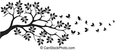 tree silhouette with butterfly - vector illustration of...