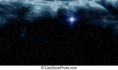 Being turned UFO - In the dark star sky in space depths from...