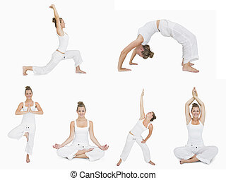 Collage of woman doing yoga on white background