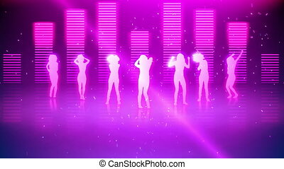 Silhouettes of women dancing against digital pink background