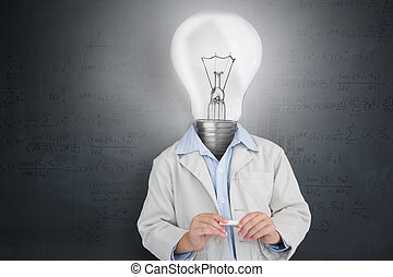 Man with lit up bulb for a head against grey background
