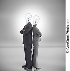 Business people with light bulbs instead of heads standing...