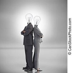 bombillas, luz, empresa / negocio, gente