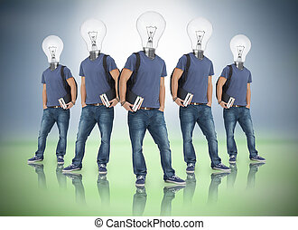 Multiple image of student with light bulb head on blue and...