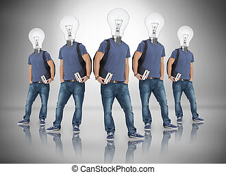 Multiple image of student with light bulb for head against...