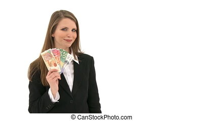 Woman with a lot of money in her hand - Woman stands in...