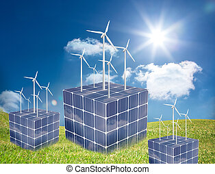 Turbines on cubes made of solar pan