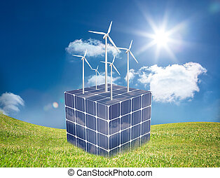 Turbines on a cube made of solar pa