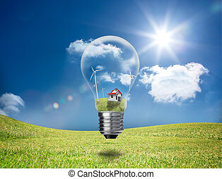 Light bulb showing house and turbines floating in a green...