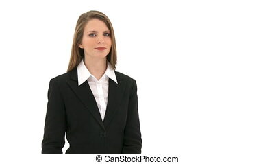 Woman breaks money - Woman stands in front of white...