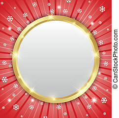 Christmas winter plaque on snowy background with beams
