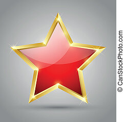 Red glossy star - Red glossy golden star isolated on grey...
