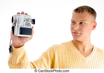 portrait of man with handy cam