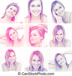 Collage of attractive blonde woman - Collage of attractive...