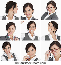 Collage of brunette businesswoman on white background