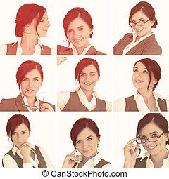 Collage of brunette businesswoman in sepia and on white...