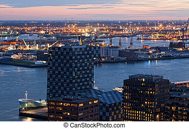 View of Rotterdam from height of bird's flight at night