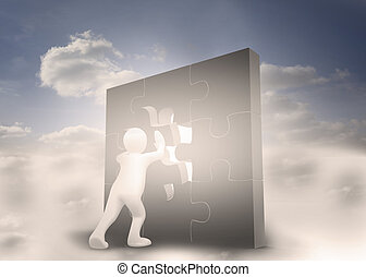 Human character resolving a puzzle in cloudy blue sky