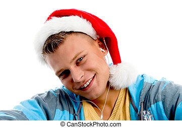 portrait of handsome man with christmas hat