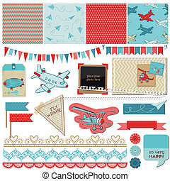 Scrapbook Design Elements - Baby Boy Plane Elements - in...