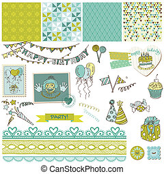 Birthday Party Set - for design and scrapbook - in vector