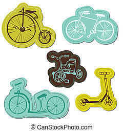 Set of Baby Bike Stickers - for design and scrapbook - in vector