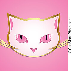 White cat head - Golden and white cat head isolated on pink...