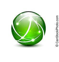 Vector communication globe icon concept - Green vector...