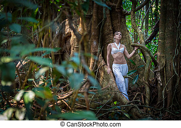beautiful girl in the jungle