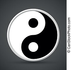 Yin Yang symbol icon isolated on dark grey background