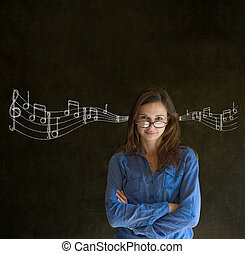 Learn music business woman or teacher with chalk background...