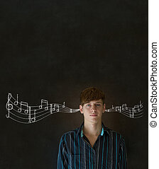 Learn music business man or teacher with chalk background -...