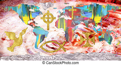 continents - Colorful continents with christian symbols
