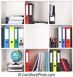 Folders on shelves - File folders, standing on the shelves...