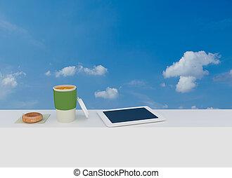 paus, utanför, arbete, kaffe,  /