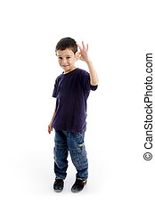 happy young kid with okay sign gesture on an isolated white...
