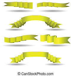 set of yellow banners - colorful illustration with yellow...