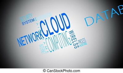 Cloud computing buzzwords montage in blue on white...