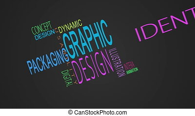 Graphic design buzzwords montage on black background