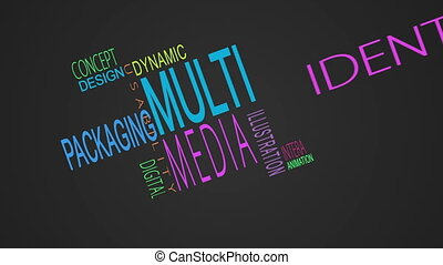 Multimedia buzzwords montage on black background