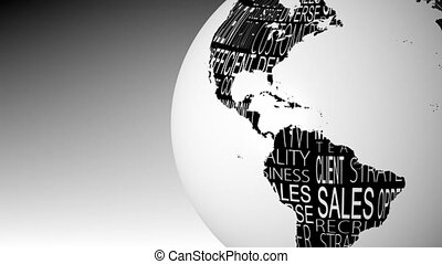 Globe of business words spinning in black and white...