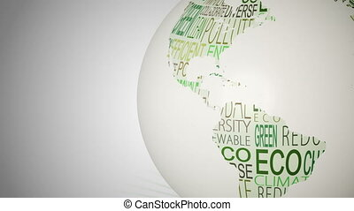 Globe of environment words spinning in green and white...