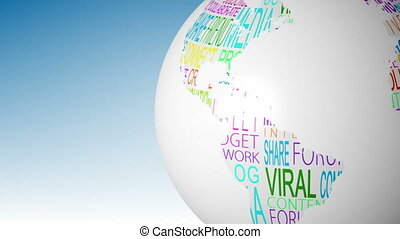 Globe of social media words spinning on blue background...