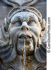 Sculptural detail of the baroque fountain in the Piazza...