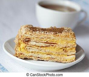 Napoleon cake and tea