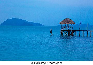 hölzern, Insel,  Pier, tropische