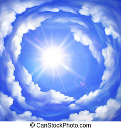 Cloudy sky - Vector background of cloudy summer sky with...