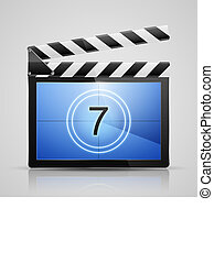 Movie player icon - Realistic vector illustration of clapper...