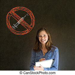 No drugs woman on blackboard background