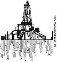Oil rig silhouettes on white background Vector Illustration...